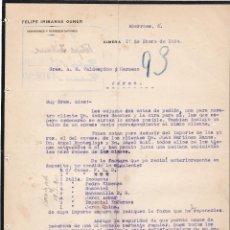 Cartas comerciales: CARTA COMERCIAL. FELIPE IRIBARNE GENER. COMISIONES Y REPRESENTACIONES. ALMERA 1924. Lote 151094358