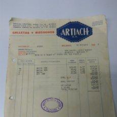 Cartas comerciales: ALMERÍA GALLETAS ARTIACH FACTURA AÑO 1935. Lote 151128802