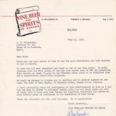 Cartas comerciales: CARTA COMERCIAL. WINE BEER AND SPIRITS IN CANADÁ 1958. Lote 151399246