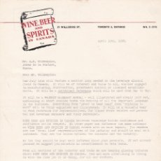 Cartas comerciales: CARTA COMERCIAL. WINE BEER AND SPIRITS IN CANADÁ 1958. Lote 151399474