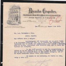 Cartas comerciales: CARTA COMERCIAL. RICARDO CÉSPEDES. ALMACÉN DE ABARROTES. MEXICO 1922. Lote 151399714