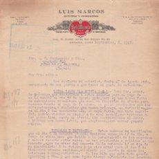 Cartas comerciales: CARTA COMERCIAL. LUIS MARCOS. SEGUROS Y COMISIONES. HABANA. CUBA 1928. Lote 151399814