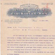 Cartas comerciales: CARTA COMERCIAL. CARL KOHN & Cº WIEN. GRANDS VINS DE CHAMPAGNE. WIEN 1906. Lote 151402962