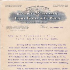 Cartas comerciales: CARTA COMERCIAL. CARL KOHN & Cº WIEN. GRANDS VINS DE CHAMPAGNE. WIEN 1905. Lote 151403054
