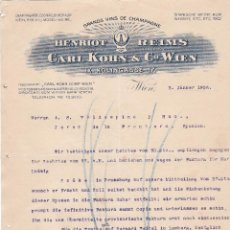 Cartas comerciales: CARTA COMERCIAL. CARL KOHN & Cº WIEN. GRANDS VINS DE CHAMPAGNE. WIEN 1906. Lote 151403194