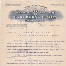 Cartas comerciales: CARTA COMERCIAL. CARL KOHN & Cº WIEN. GRANDS VINS DE CHAMPAGNE. WIEN 1905. Lote 151403298