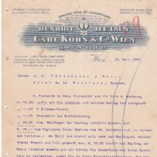 Cartas comerciales: CARTA COMERCIAL. CARL KOHN & Cº WIEN. GRANDS VINS DE CHAMPAGNE. WIEN 1906. Lote 151403382