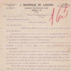 Cartas comerciales: CARTA COMERCIAL. J.MANRIQUE DE LAGUNA. COMISIONES, REPRESENTACIONES DE CASAS EXTRANJERAS.HABANA 1923. Lote 151403498