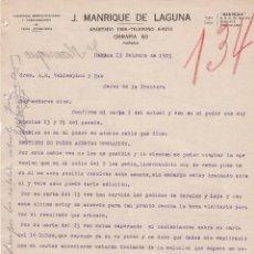 Cartas comerciales: CARTA COMERCIAL. J.MANRIQUE DE LAGUNA. COMISIONES, REPRESENTACIONES DE CASAS EXTRANJERAS.HABANA 1923. Lote 151406250
