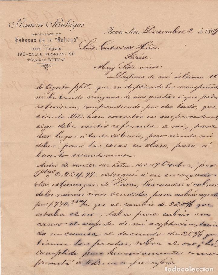CARTA COMERCIAL. RAMÓN BUHIGAS. IMPORTADOR TABACOS DE LA HABANA. BUENOS AIRES 1899 (Coleccionismo - Documentos - Cartas Comerciales)