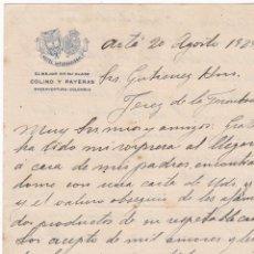 Cartas comerciales: CARTA COMERCIAL. COLINO Y PAYERAS. HOTEL INTERNACIONAL. COLOMBIA 1929. Lote 151406902