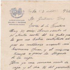 Cartas comerciales: CARTA COMERCIAL. COLINO Y PAYERAS. HOTEL INTERNACIONAL. COLOMBIA 1926. Lote 151407202