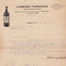 Lettere commerciali: CARTA COMERCIAL. LORENZO TURANZAS. IMPORTADOR DE VINOS. MEXICO 1930. Lote 151481838