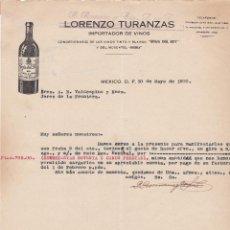 Lettere commerciali: CARTA COMERCIAL. LORENZO TURANZAS. IMPORTADOR DE VINOS. MEXICO 1930. Lote 151482710
