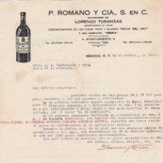 Lettere commerciali: CARTA COMERCIAL. P.ROMANO Y CÍA. S. EN C. SUCESORES LORENZO TURANZAS. MEXICO 1930. Lote 151483518