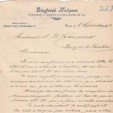 Cartas comerciales: CARTA COMERCIAL. SIEGFRIED HEILERN. VIENNE 1893. Lote 151954726
