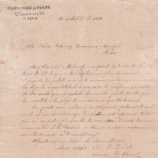 Cartas comerciales: CARTA COMERCIAL. VIUDA E HIJOS DE CHAVES. CÁDIZ 1882. Lote 152015090