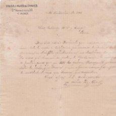 Cartas comerciales: CARTA COMERCIAL. VIUDA E HIJOS DE CHAVES. CÁDIZ 1882. Lote 152015378