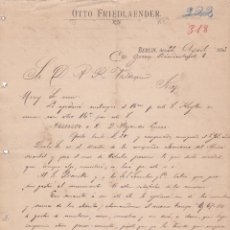 Cartas comerciales: CARTA COMERCIAL. OTTO FRIEDLAENDER. BERLIN 1893. Lote 152016502