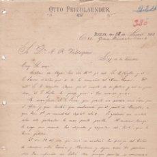 Cartas comerciales: CARTA COMERCIAL. OTTO FRIEDLAENDER. BERLIN 1893. Lote 152016842
