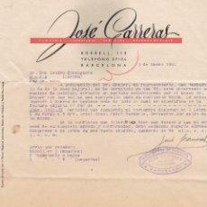 Cartas comerciales: CARTA COMERCIAL JOSE CARRERAS, BARCELONA 1940. Lote 152306294