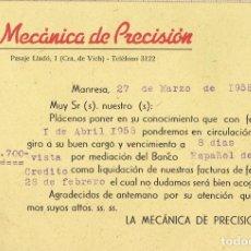 Cartas comerciales: CARTA POSTAL DE LA MECÁNICA DE PRECISIÓN MANRESA 1958.. Lote 152490370