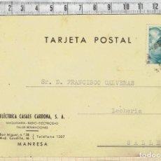 Cartas comerciales: CARTA POSTAL DE ELÉCTRICA CASALS CARDONA, S.A. MANRESA 1953.. Lote 152490558
