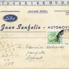 Cartas comerciales: CARTA POSTAL DE GARAGE ESPORT JUAN SANFELIU - AUTOMOVILES - MANRESA 1954.. Lote 152490906