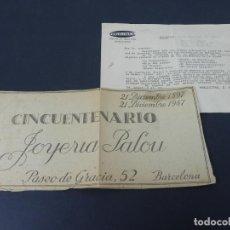 Cartas comerciales: CARTA COMERCIAL PUBLICITAS,S.A. DEL 23-12-1947 A JOYERIA PALOU (CON RECORTE PUBLICITARIO). Lote 152511842