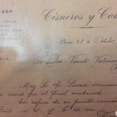 Cartas comerciales: ORENSE 1911 GRAN BAZAR CISNEROS Y COMP.. Lote 152623606