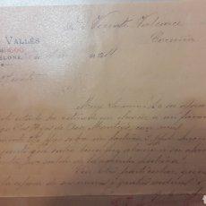 Cartas comerciales: 1911 AVELINO VALLÉS BARCELONA. Lote 152626357