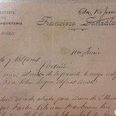 Cartas comerciales: 1906 LA VEGA DE BOLLO ORENSE FRACISCO GONZALEZ TEJIDOS FERRETERIA ULTRAMARINOS QUINCALLA. Lote 152721240