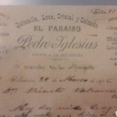 Cartas comerciales: 1906 RIVADAVIA ORENSE PEDRO IGLESIAS EL PAEAISO QUINCALLA.LOZA.CRISTAL Y CALZADO PRAGUAS. ABANICOS. Lote 152721922