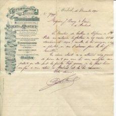 Cartas comerciales: MADRID-ALBERTO DE MONTAUD-ORNAMENTOS DE IGLESIAS Y EFECTOS MILITARES- AÑO 1901. Lote 154741566