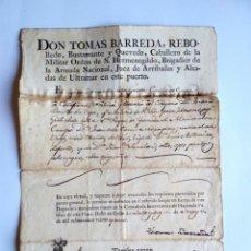 Cartas comerciales: CARTA,FE DE EMBARQUE, CADIZ AÑO 1821. Lote 155218828