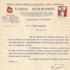 Cartas comerciales: ANTIGUA FACTURA DEL AÑO 1915 , FABRICA BARCELONESA DE CELULOIDE GOMA Y APÓSITOS TUSELL HERMANOS. Lote 155446014