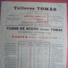 Cartas comerciales: TALLERES TOMAS.-HIJOS DE M. TOMAS Y CIA.-CARTA COMERCIAL.-VILLANUEVA Y GELTRU.-BARCELONA.-AÑO 1909.. Lote 155682030