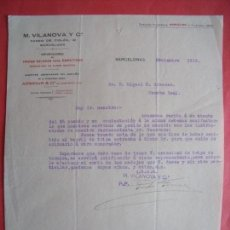Cartas comerciales: M. VILANOVA Y CIA.-TRIPAS SALADAS.-EMBUTIDOS.-CARTA COMERCIAL.-BARCELONA.-AÑO 1913.. Lote 155682414