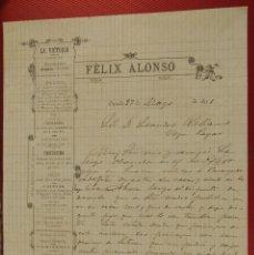 Cartas comerciales: GRAN SASTRERÍA FELIX ALONSO. LA VICTORIA OVIEDO. 1891. FIRMA PROPIETARIO. . Lote 155813422