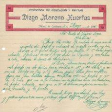 Cartas comerciales: ANTIGUA CARTA COMERCIAL MANUSCRITA VENDEDOR DE PESCADOS Y FRUTAS. MORAL DE CALATRAVA. AÑO 1926 . Lote 156289630