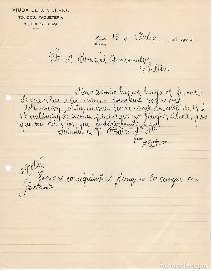 ANTIGUA CARTA COMERCIAL MANUSCRITA TEJIDOS VIUDA J. MULERO . YESTE. (ALBACETE) AÑO 1915 (Coleccionismo - Documentos - Cartas Comerciales)