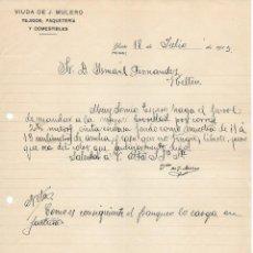 Cartas comerciales: ANTIGUA CARTA COMERCIAL MANUSCRITA TEJIDOS VIUDA J. MULERO . YESTE. (ALBACETE) AÑO 1915. Lote 156330102