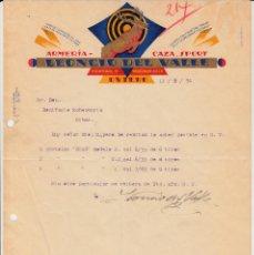 Cartas comerciales: CARTA COMERCIAL ARMAS- ARMERIA LEONCIO DEL VALL EN OVIEDO - 1934 - PEDIDO PISTOLAS STAR. Lote 156641158