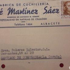 Cartas comerciales: 1957 ALBACETE FABRICA NAVAJAS JOSE MARTINEZ SÁEZ. Lote 156711257