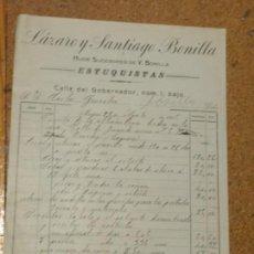 Cartas comerciales: LÁZARO Y SANTIAGO BONILLA ESTUQUISTAS CALLE DEL GOBERNADOR Nº 1 MADRID 1915. Lote 156829386