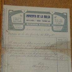 Cartas comerciales: IMPRENTA DE LA BOLSA, REVISTAS ILUSTRADAS, IMPRESOS, ETC. JUAN DE MENA 2 MADRID. FIRMA MANUEL GARCIA. Lote 156830986