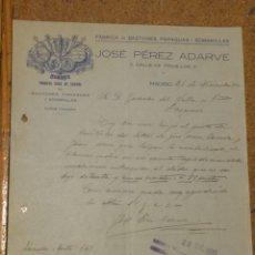 Cartas comerciales: FÁBRICA DE BASTONES, PARAGUAS Y SOMBRILLAS. ADARVE. MADRID FIRMA PROPIETARIO. 1933. Lote 156831202
