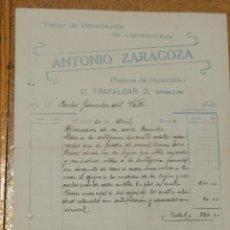 Cartas comerciales: ANTONIO ZARAGOZA TALLER DE REPARACIÓN DE AUTOMÓVILES. TRAFALGAR MADRID.. Lote 156831322