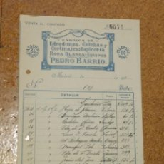 Cartas comerciales: FÁBRICA DE EDREDONES, COLCHAS, CORTINAJES, ETC PEDRO BARRIO MADRID.. Lote 156868714