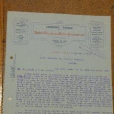 Cartas comerciales: RAFAEL SÁNCHEZ DE MOLINA PORTOCARRERO. CARBONES GARAGE. CIUDAD REAL 1932. Lote 156870670